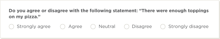 multiple choice rating scale from strongly agree to strongly disagree