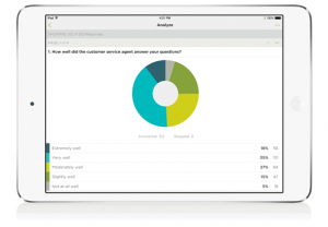 iPad displaying pie chart data features