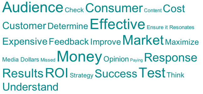 World cloud with words such as results, audience, effective, consumer, ROI