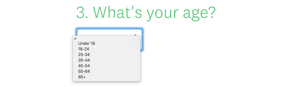 An example of a drop-down question