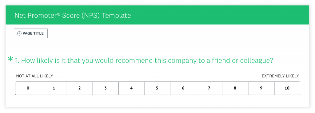 Net Promoter Score Template example with 0 to 10 scale on likelihood of recommending NPS