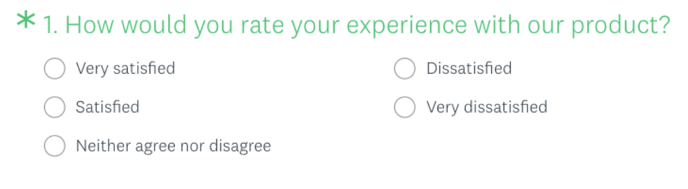 The customer satisfaction score question in the SurveyMonkey product