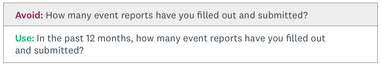 Example of a well-framed survey question