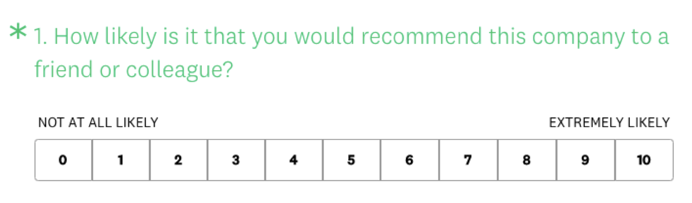 The NPS question in the SurveyMonkey product