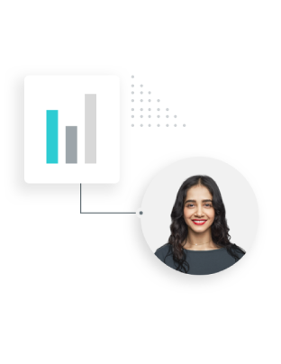Woman enclosed in circle graphic next to bar graph