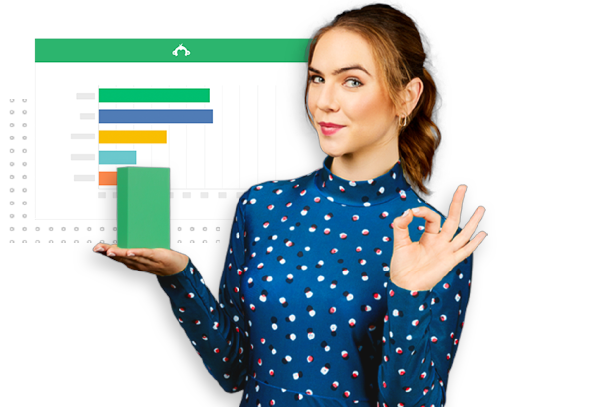 Woman holding a graph