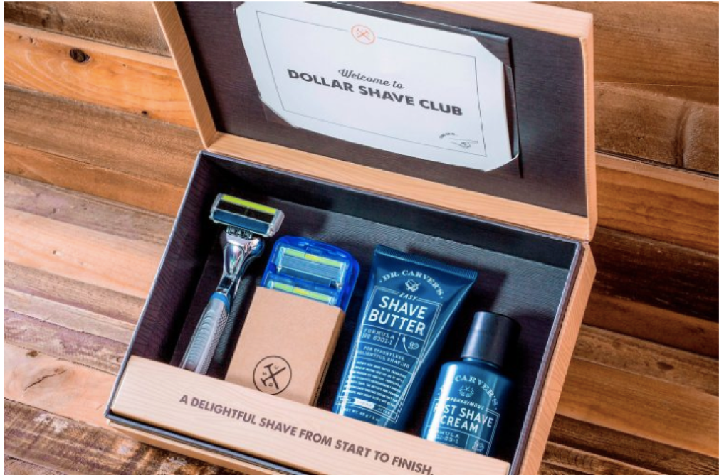A box with shaving and shower supplies inside