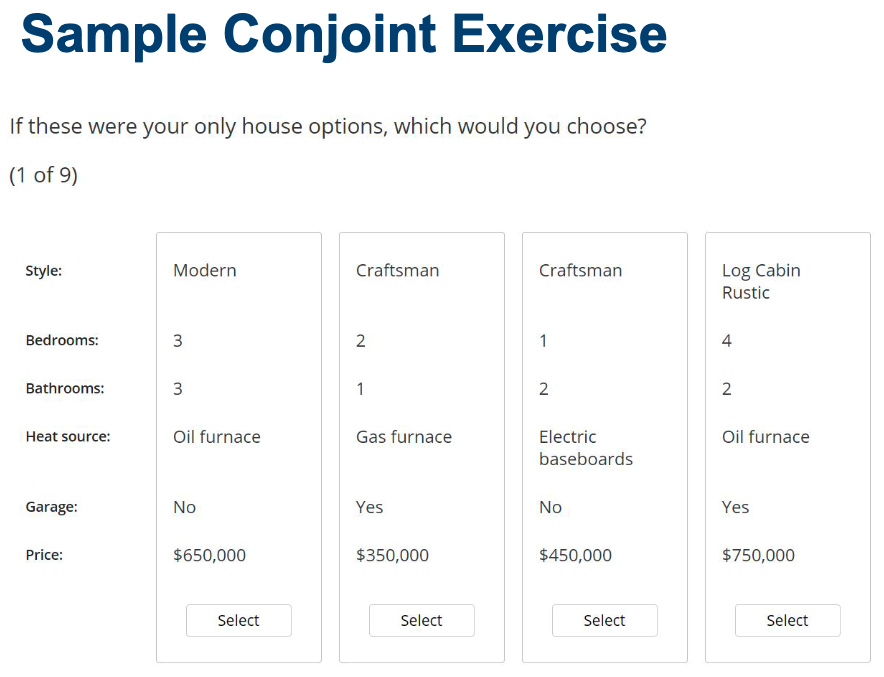 Sample conjoint exercise