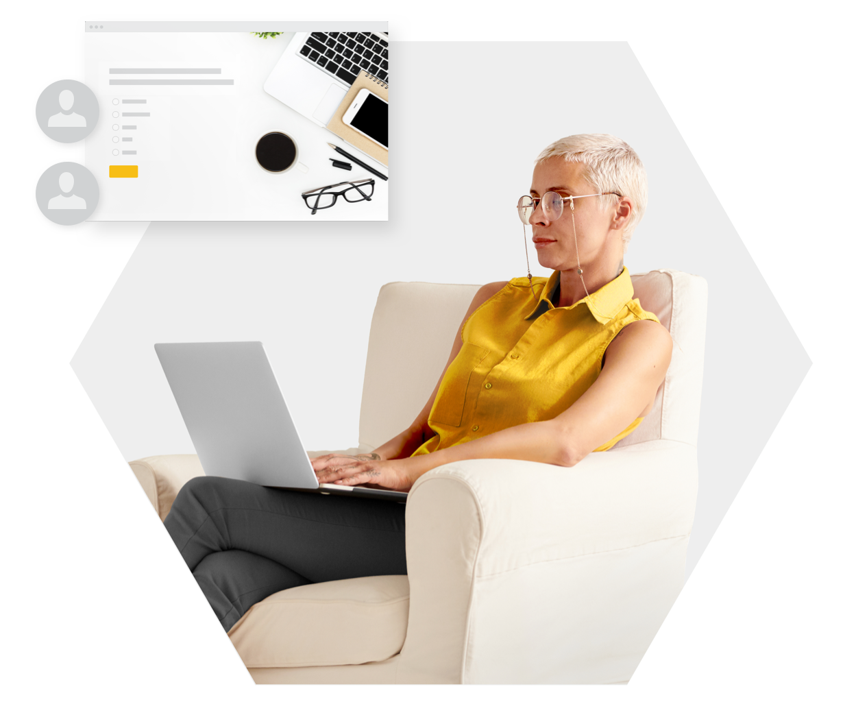 Woman typing on computer