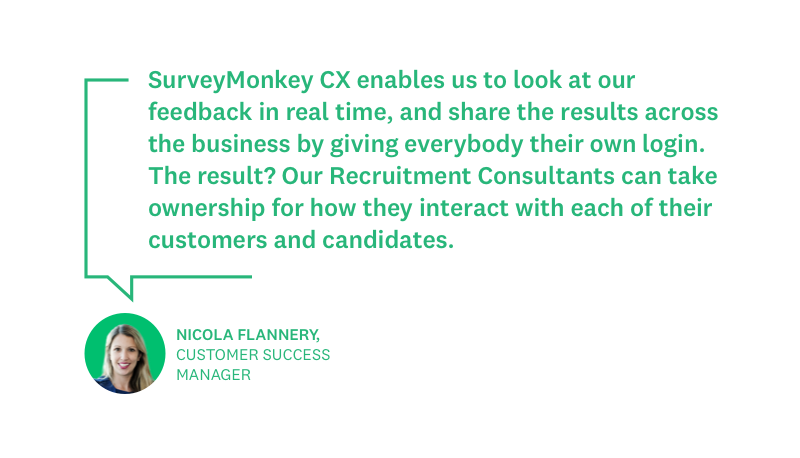 Nicola Flannery quote about experience with SurveyMonkey CX