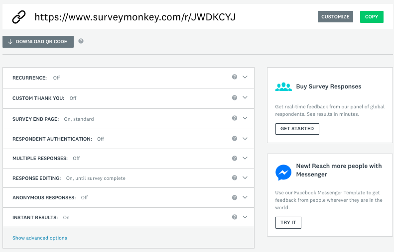Send a survey with the Web Link Collector