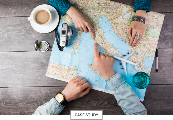 """People pointing at a map with a """"case study"""" subhead"""