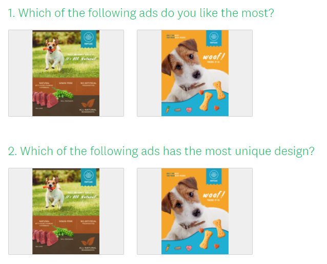 Image choices for ad testing