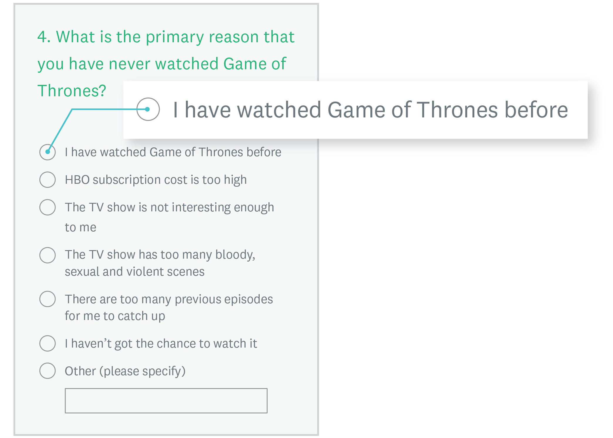 Game of Thrones question without skip logic