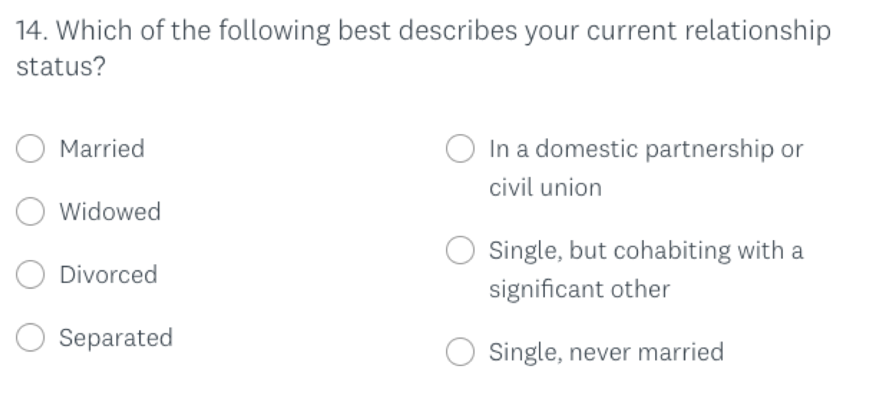 An example of a more specific demographic question