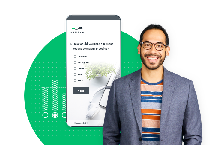 Man smiling in front of survey example