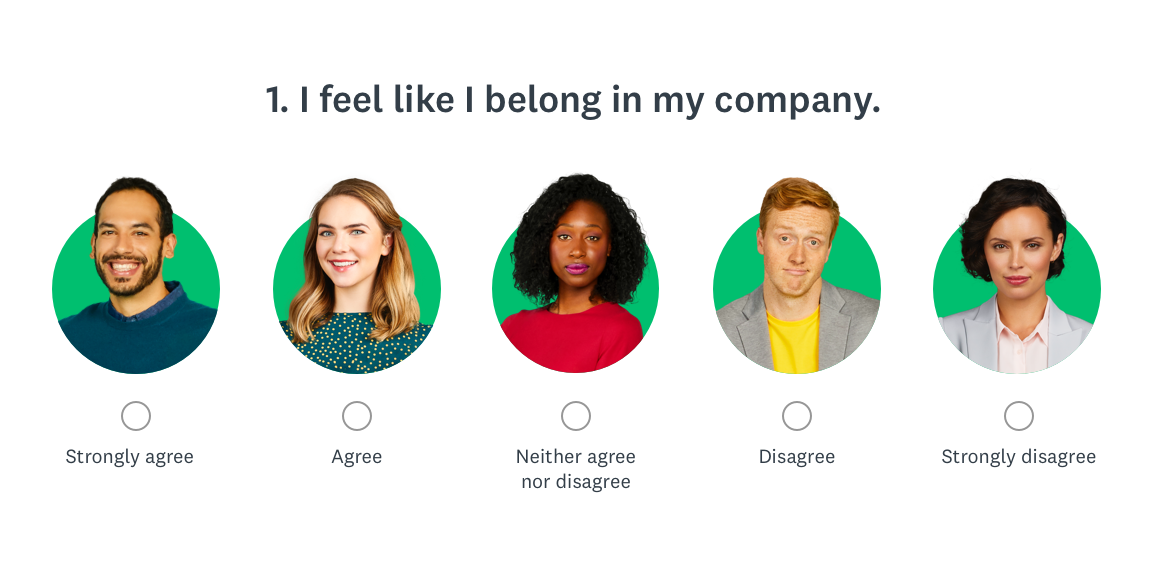 Survey asking if you feel like you belong at your company example