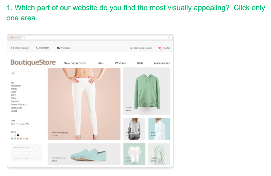Survey example: Which part of our websites do you find most visually appealing?