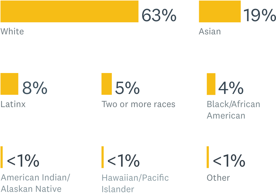 Non-tech workers race percentage
