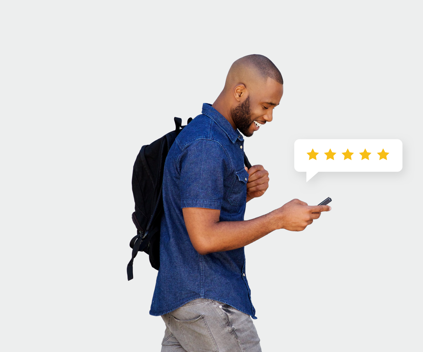 Man is rating 5 stars on his phone