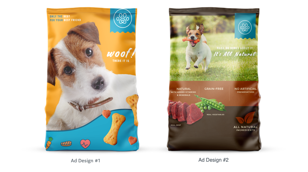 two different package designs for dog food