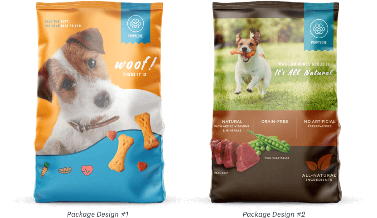 Two package designs for dog food standing side-by-side.